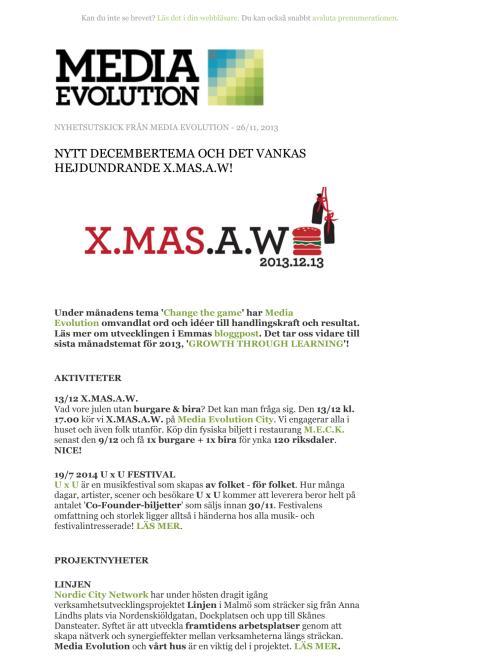 Newsletter 26.11.13 - NYTT DECEMBERTEMA OCH DET VANKAS HEJDUNDRANDE X.MAS.A.W!