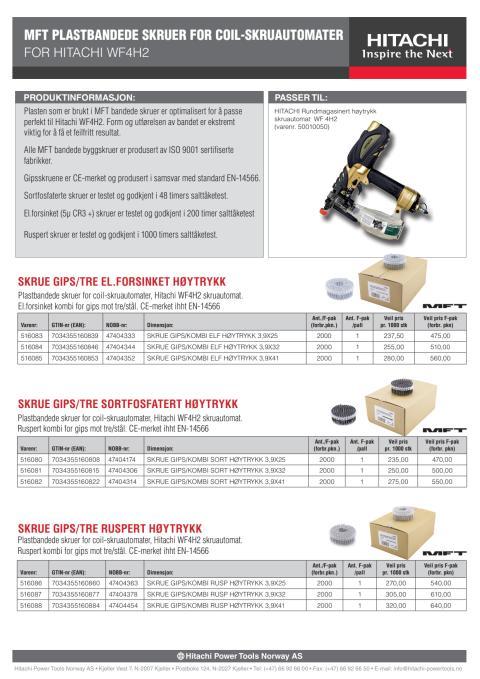 MFT plastbandede skruer for coil-skruautomater (for Hitachi WF4H2)