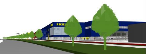IKEA Kållered sett från nordöst och E6an