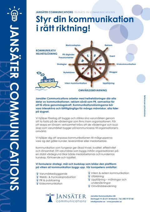 Jansäter Kommunikations erbjudande med helhetslösningar