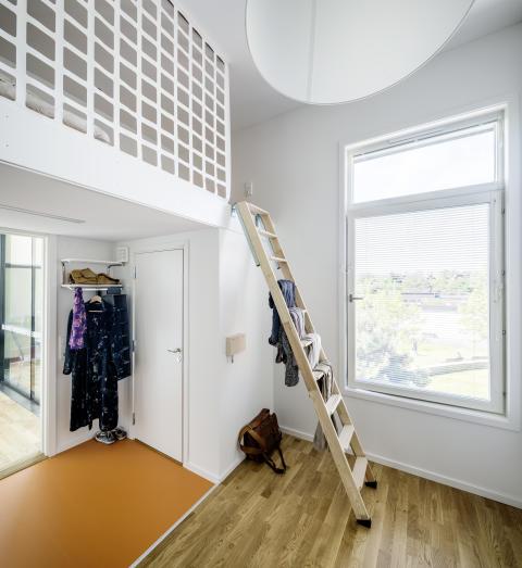 47 kubik. Privat lägenhet i HSB Living Lab utsikt fönster.