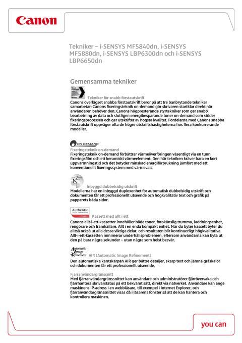Teknikförklaringar i-SENSYS serien