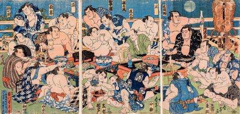 Sumo - sport, ritual, konst - en utställning som visar träsnitt med motiv från den japanska nationalsporten sumo