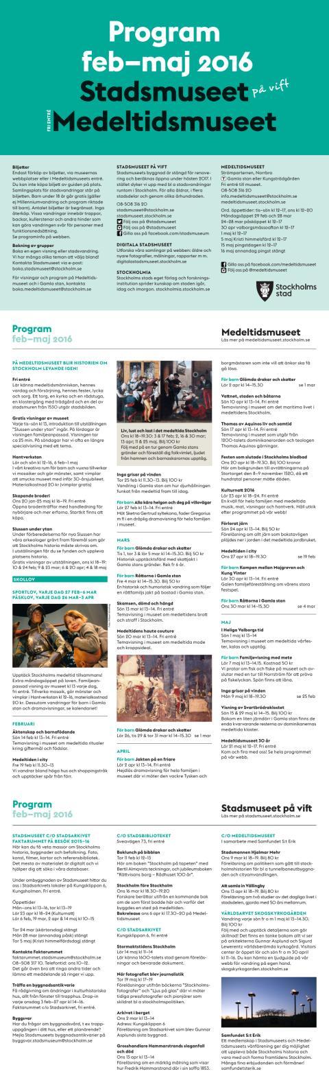 Program Stadsmuseet Medeltidsmuseet februari–maj 2016
