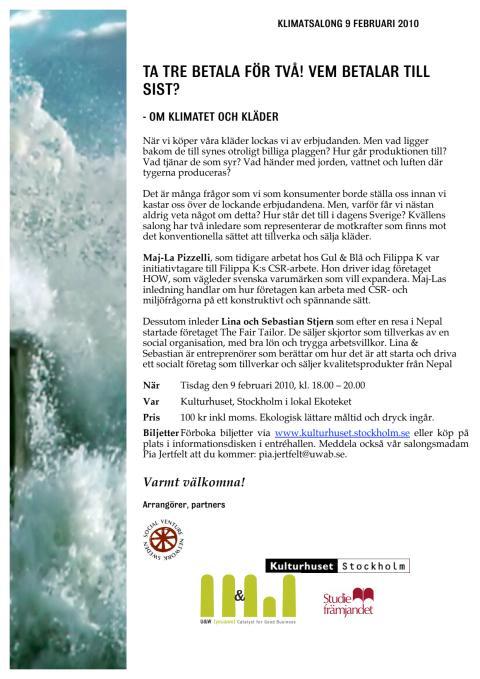Inbjudan till Klimatsalong 9 februari kl 18.00 på Ekoteket om Klimat och kläder