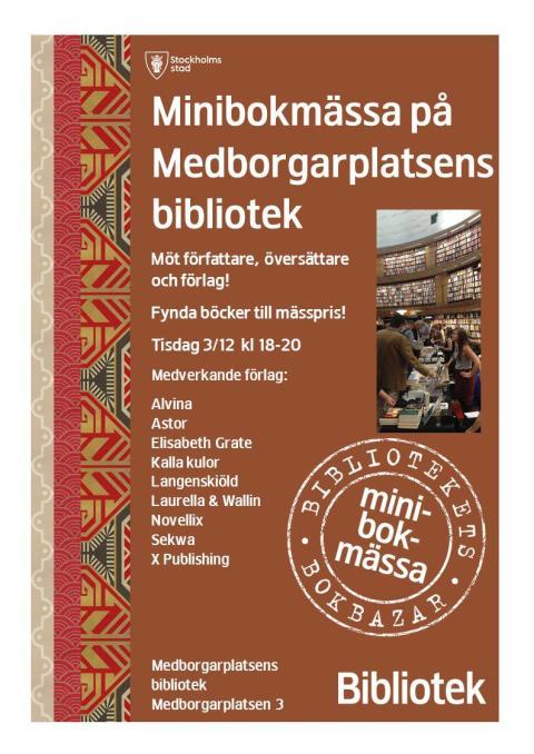 Minibokmässa på Medborgarplatsens bibliotek 3 dec