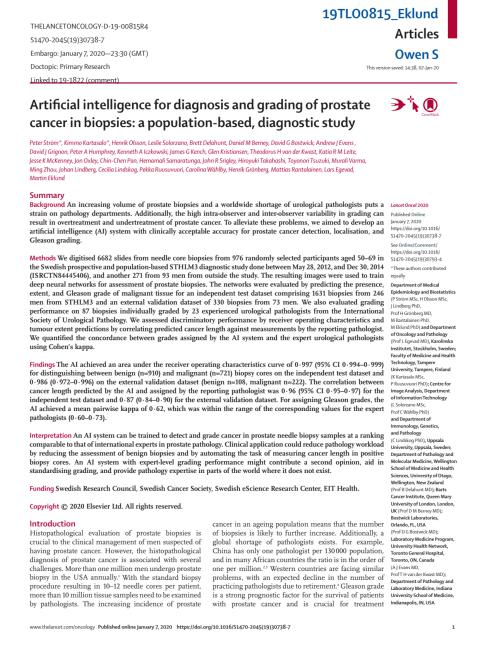 Artificial intelligence for diagnosis and grading of prostate cancer in biopsies: a population-based, diagnostic study