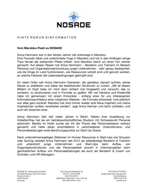 Vom Marokko-Flash zu NOSADE