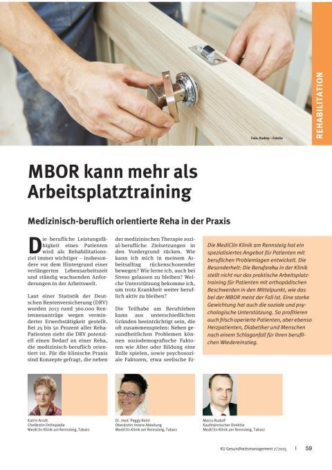 MBOR kann mehr als Arbeitsplatztraining: Artikel im Magazin KU-Gesundheitsmanagement (7/2015)