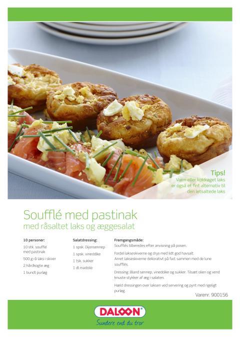 Opskrift: Pastinak soufflé med råsaltet laks og æggesalat