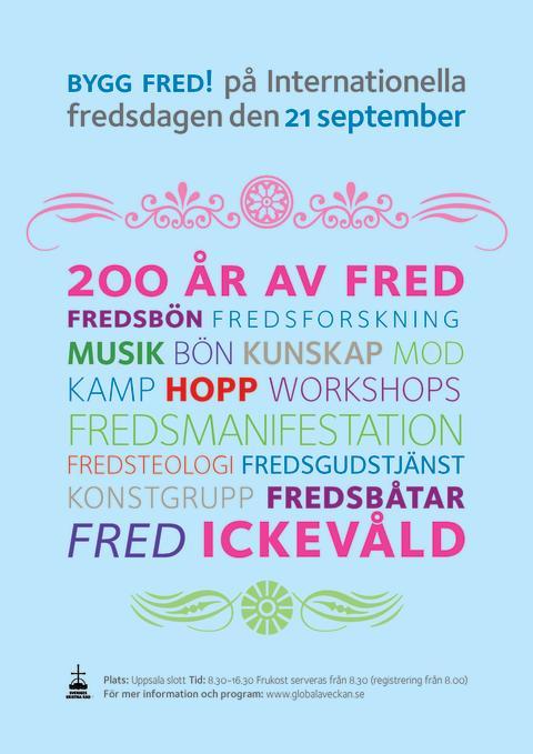 Stor fredskonferens i Uppsala på Internationella fredsdagen den 21 september