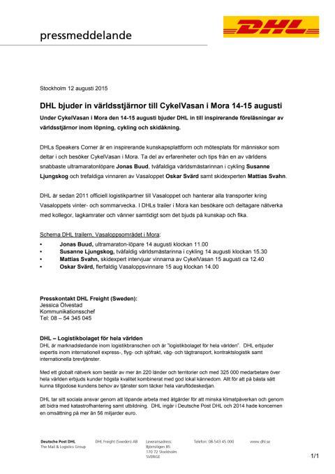 DHL bjuder in världsstjärnor till Cykelvasan i Mora 14-15 augusti