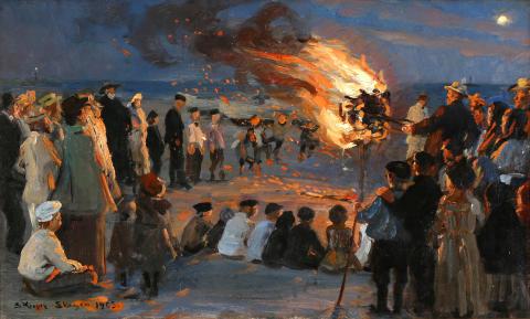P. S. Krøyer: St. Hansblus på Skagens strand
