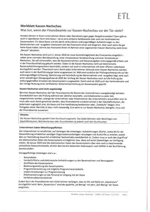 Merkblatt Kassen-Nachschau