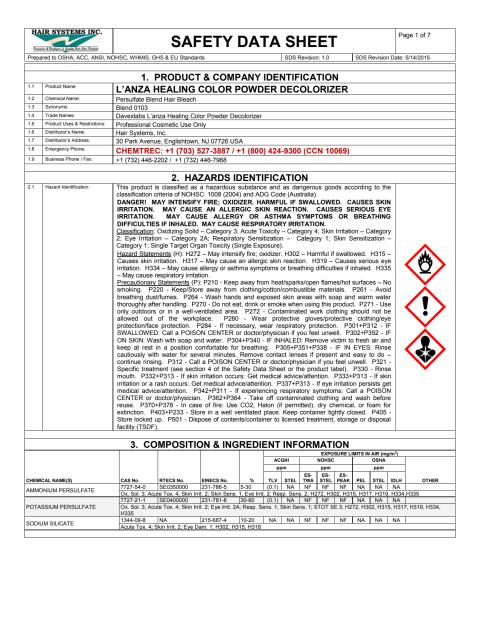 L´anza MSDS Healing Color Powder Decolorizer