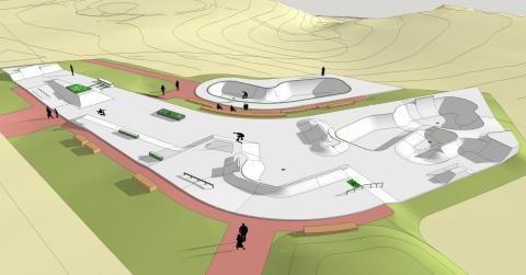 Leksands Skatepark, vy från nordöst