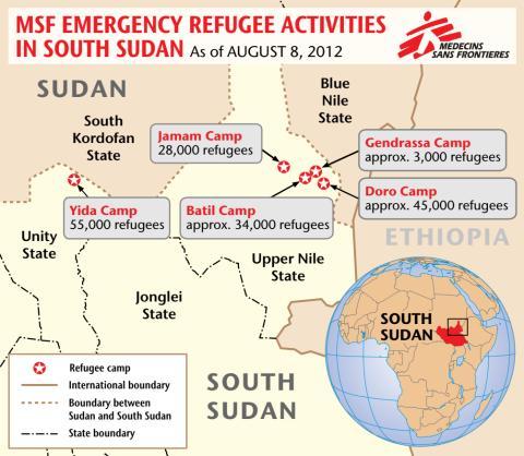 Karta över flyktingläger Sydsudan
