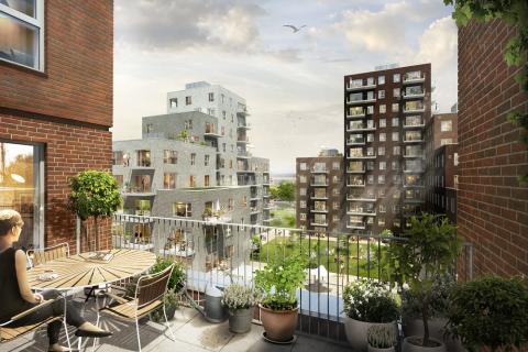 Når projektet står færdigt vil der være 315 nye, bæredygtige lejligheder i det levende og attraktive bykverter omkring Strandlodsvej, Kløvermarken og Amager Strand