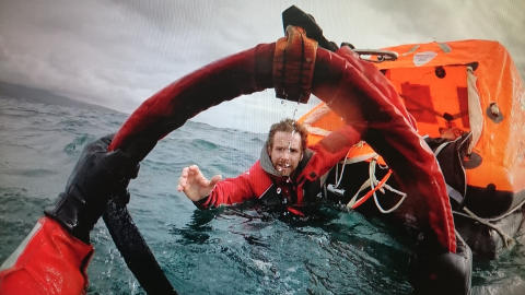 Hi-res image - Ocean Signal - Sailor Edward Harwood during the rescue from yacht Mistral