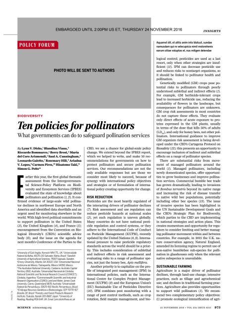 Tio åtgärder för framtidens pollinering