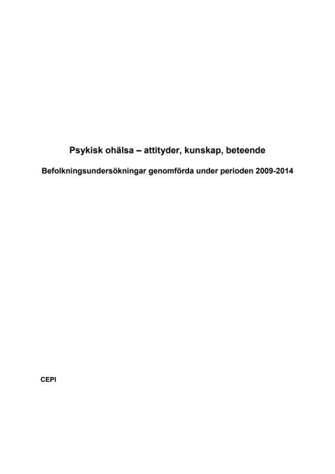 Psykisk ohälsa - attityder, kunskap och beteende