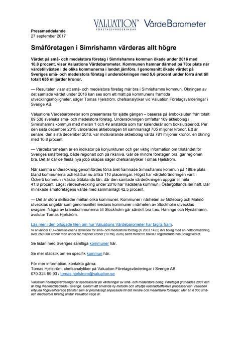 Värdebarometern 2017 Simrishamns kommun