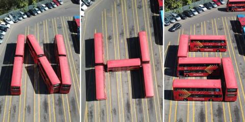 Buses positioned to spell out 'NHS' in support of key workers