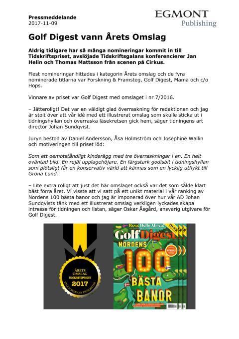Pressmeddelande Golf Digest Årets Omslag 1711109