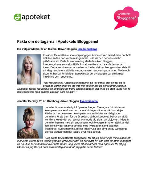 Fakta om deltagarna i Apotekets Bloggpanel