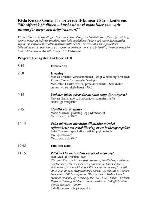 Konferensprogram 1 oktober 2010 –  Röda Korsets Center för torterade flyktingar 25 år