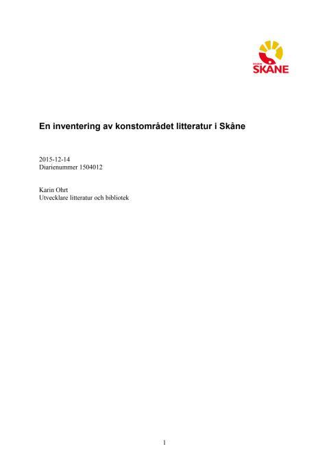 En inventering  av konstområdet litteratur  i Skåne