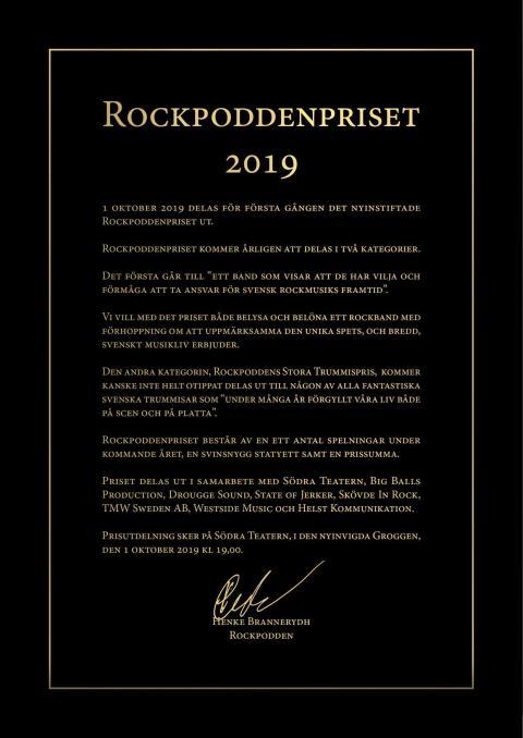 Rockpoddenpriset delas ut på Södra Teatern 1 oktober 2019