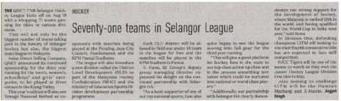Seventy-one teams in Selangor League