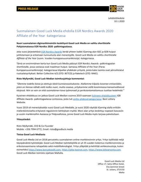 Lehdistötiedote Good Luck Media Ltd 10.1.2020 - Press Release