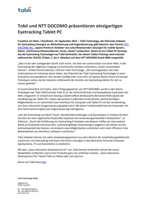 Tobii und NTT DOCOMO präsentieren einzigartigen Eyetracking Tablet PC