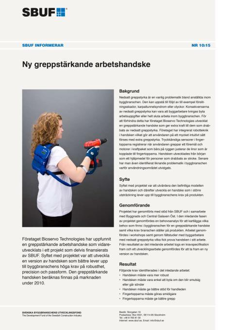 SBUF Informerar, nr. 10-15 - Ny greppstärkande arbetshandske