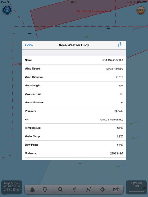 NavLink UK app showing weather buoy data for Channel Light Vessel