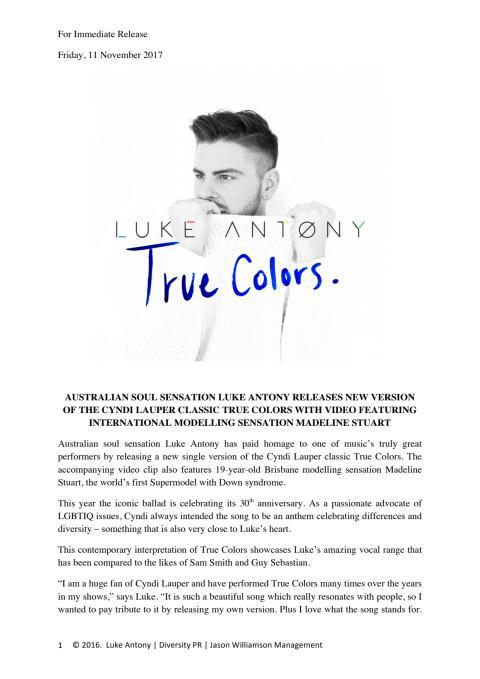 Luke Antony press release - True Colours video release