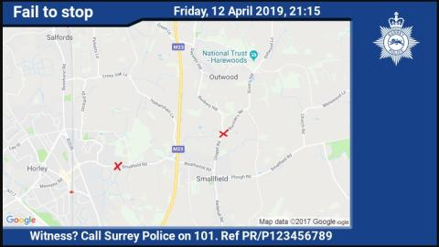 Appeal for witnesses following pursuit of a blue Mini in Horley on Friday