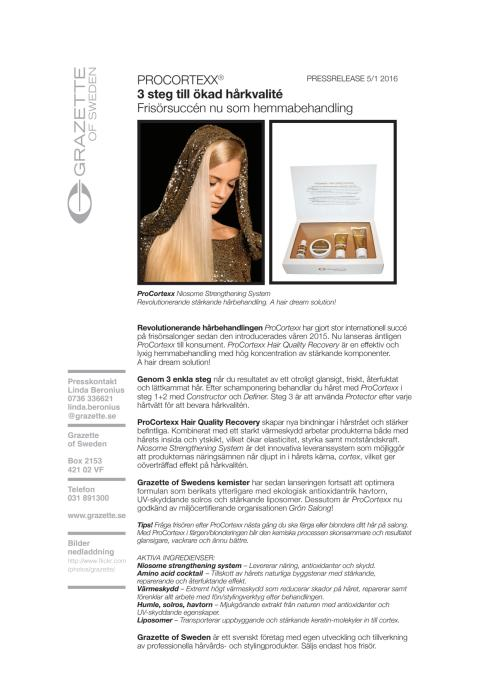 Pressrelease ProCortexx Hair Quality Recovery