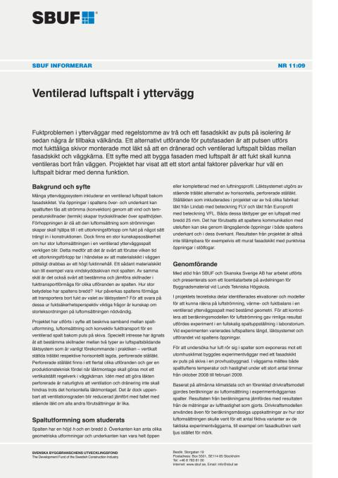 SBUF Informerar, nr. 11-09 Ventilerad luftspalt i yttervägg