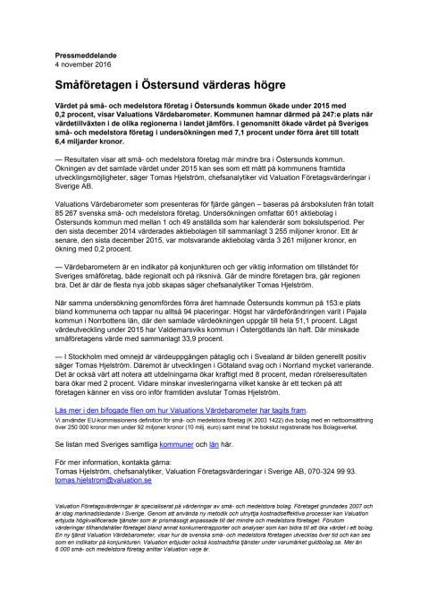 Värdebarometern 2015 Östersunds kommun