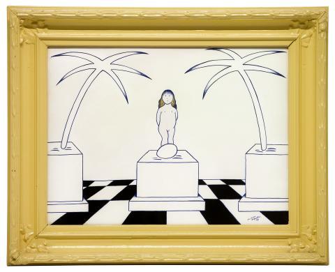 Marie-Louise Ekman, Venus födelse, gouache på siden, 63x50 cm