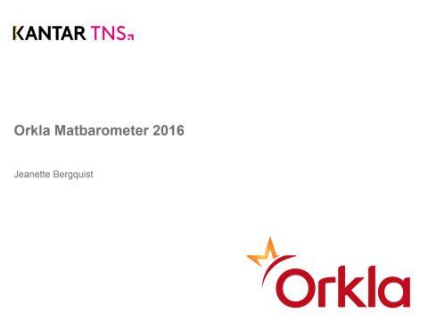 Orkla Matbarometer 2016 Nordiskt resultat