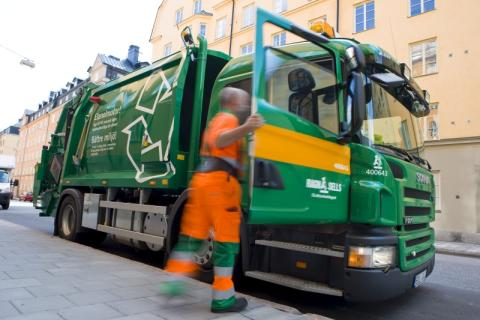 Garbage truck in Stockholm
