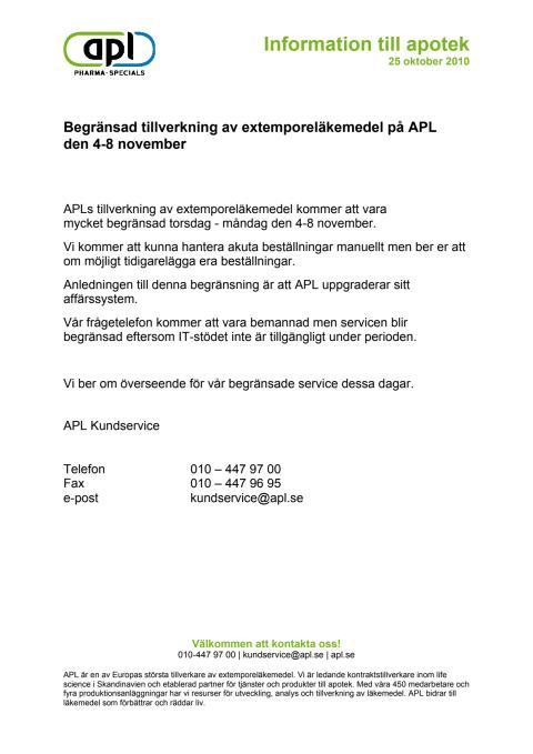 Begränsad extemporetillverkning  på APL