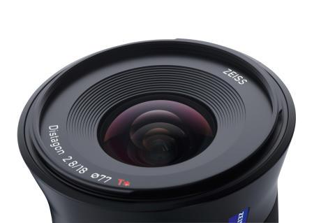 Zeiss Batis 18mm F/2.8, front detaljbilde