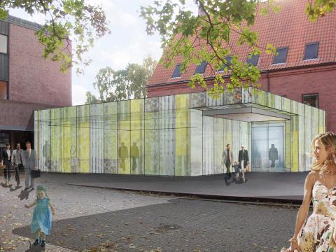 Tidningsrummet och ny entré från bibliotekstorget. Uulas Arkitekter AB