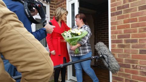 Charlotte Hawkins surprises ellenor respite carer, Vicki Read