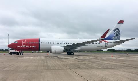 Norwegian's 737MAX aircraft with Tom Crean tail fin at Belfast International Airport
